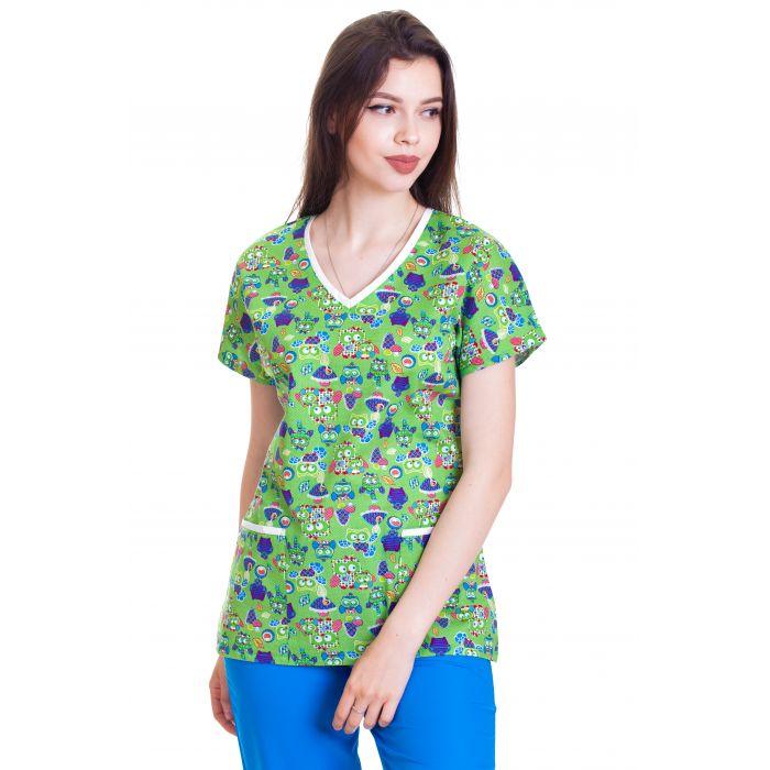 Bluza imprimata - Green Mushrooms and Owls