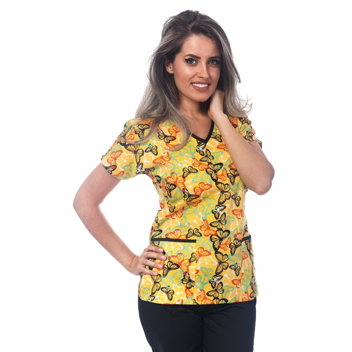 Bluza Imprimata - Yellow Tropical Butterflies