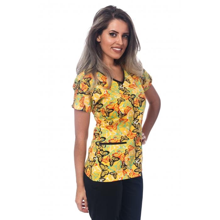 Bluza Imprimata - Yellow Tropical Butterflies
